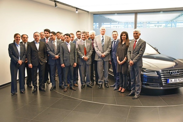 The business delegation from Karachi got a guider tour at Audi's plant in Ingolstadt, Germany.