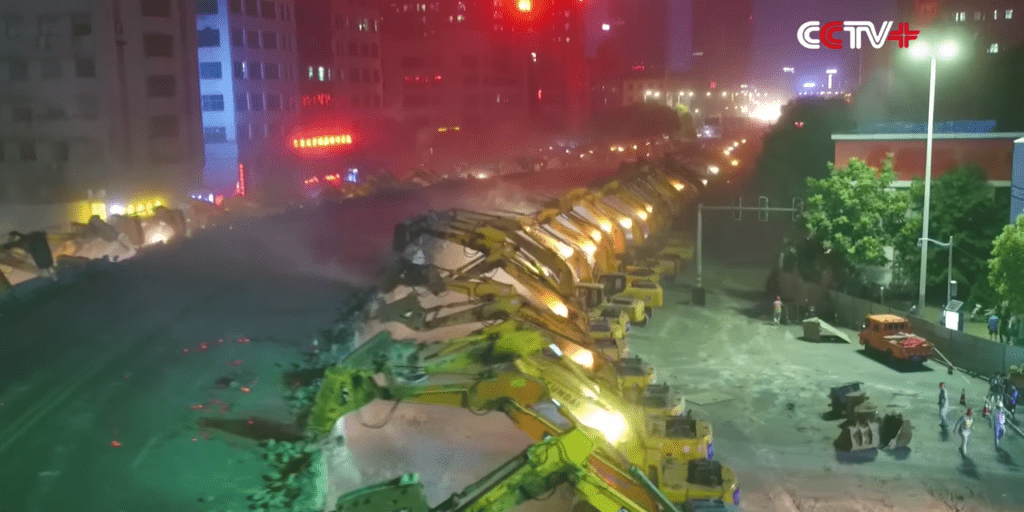 An Army Of Chinese Excavators Demolished An Overpass Within A Night 1