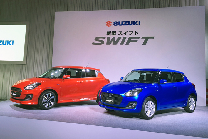 2017-Suzuki-Swift-front-three-quarters-Japan-launch-event