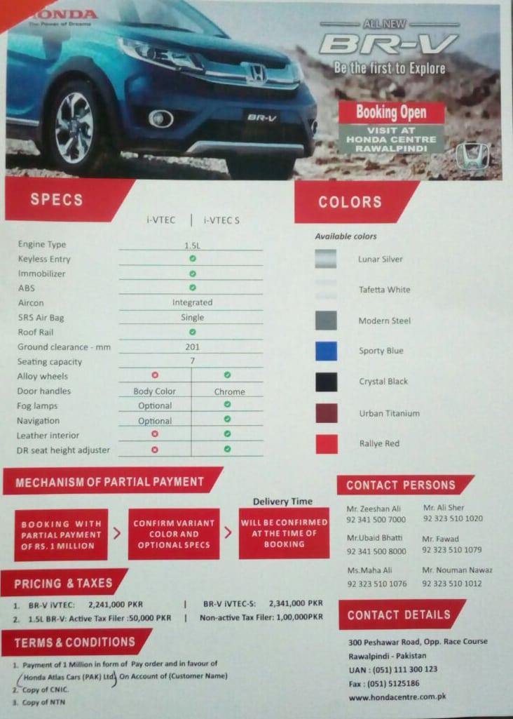 Honda BR-V Specs and Prices Revealed 2