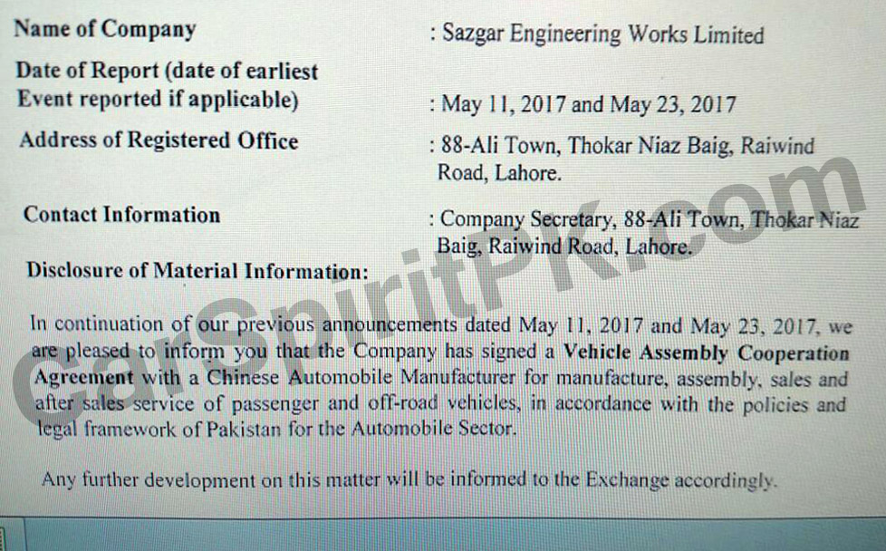 Sazgar Partners with Chinese Automaker to Assemble Vehicles in Pakistan 1