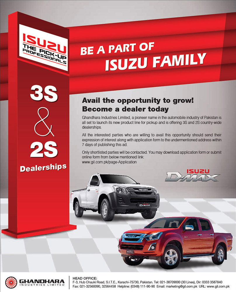 Ghandhara Offering 3S and 2S Dealerships for Isuzu Range of Vehicles 2