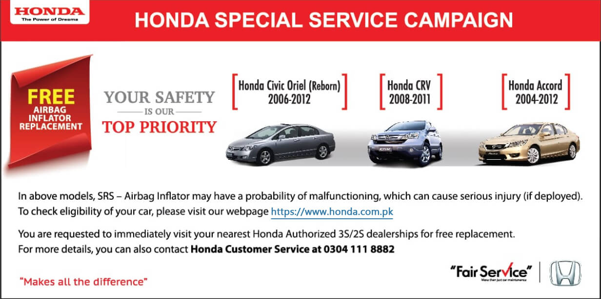 Honda Pakistan Offering Free Airbag Replacement on Certain Models 2