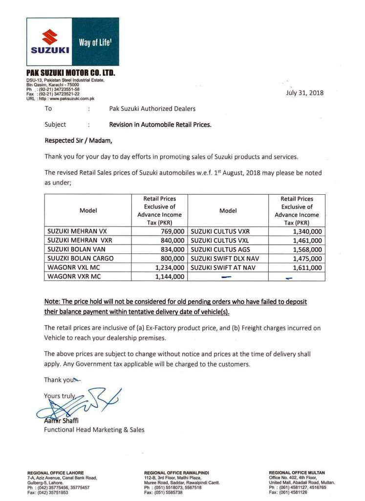Pak Suzuki Increases Car Prices Once Again 2