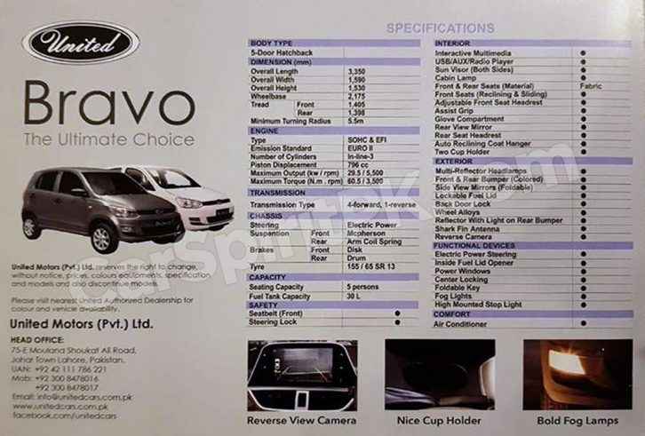 United Bravo Launched in Pakistan Priced at PKR 8.5 lac 9