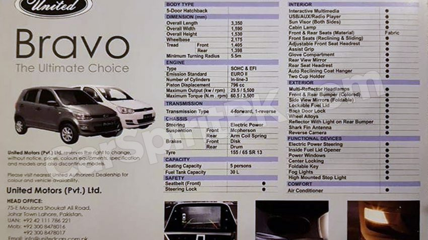 United Bravo Launched in Pakistan Priced at PKR 8.5 lac 13