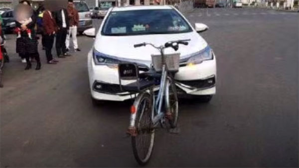 Images of Bicycle Heavily Damaging Corolla's Bumper Went Viral 1