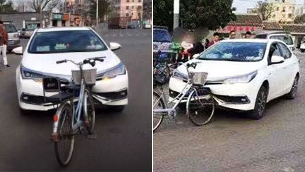 Images of Bicycle Heavily Damaging Corolla's Bumper Went Viral 2