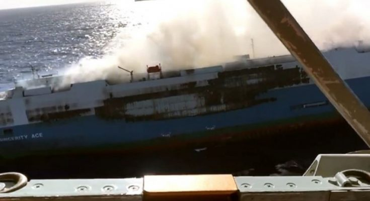 Cargo Ship Carrying 3,500 Nissan Cars Caught Fire 1