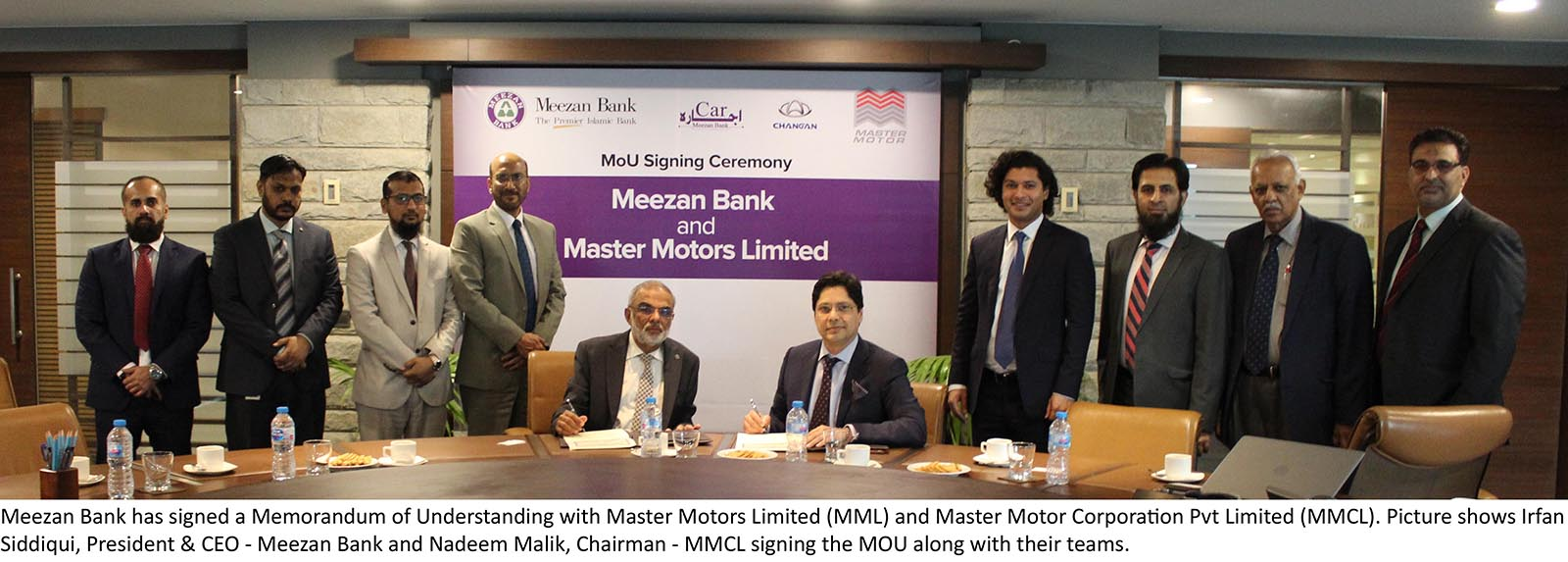 Meezan Bank and Master Motors Sign MoU for Promoting Changan 1