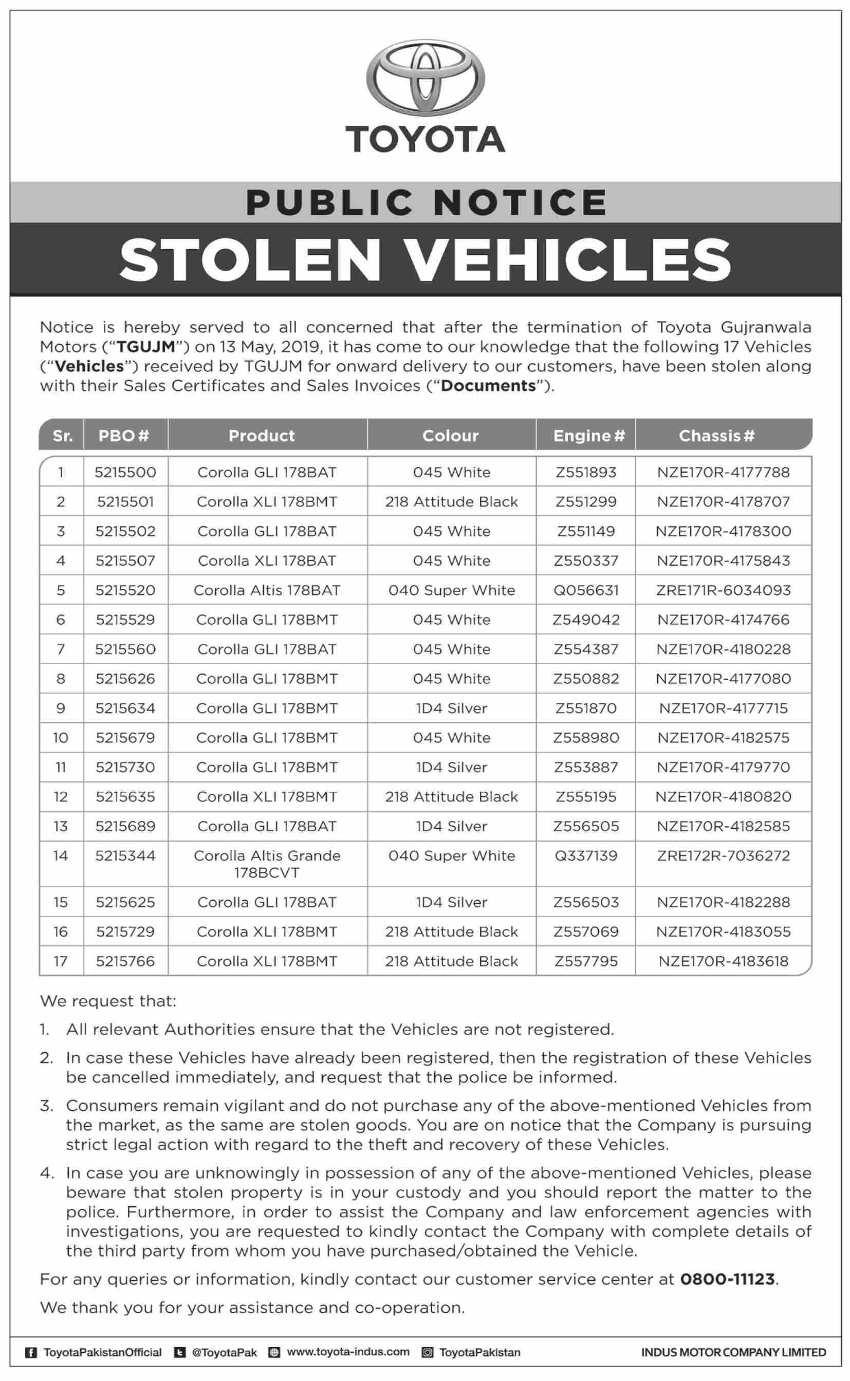 IMC Issues Public Notice Regarding Stolen Vehicles 1