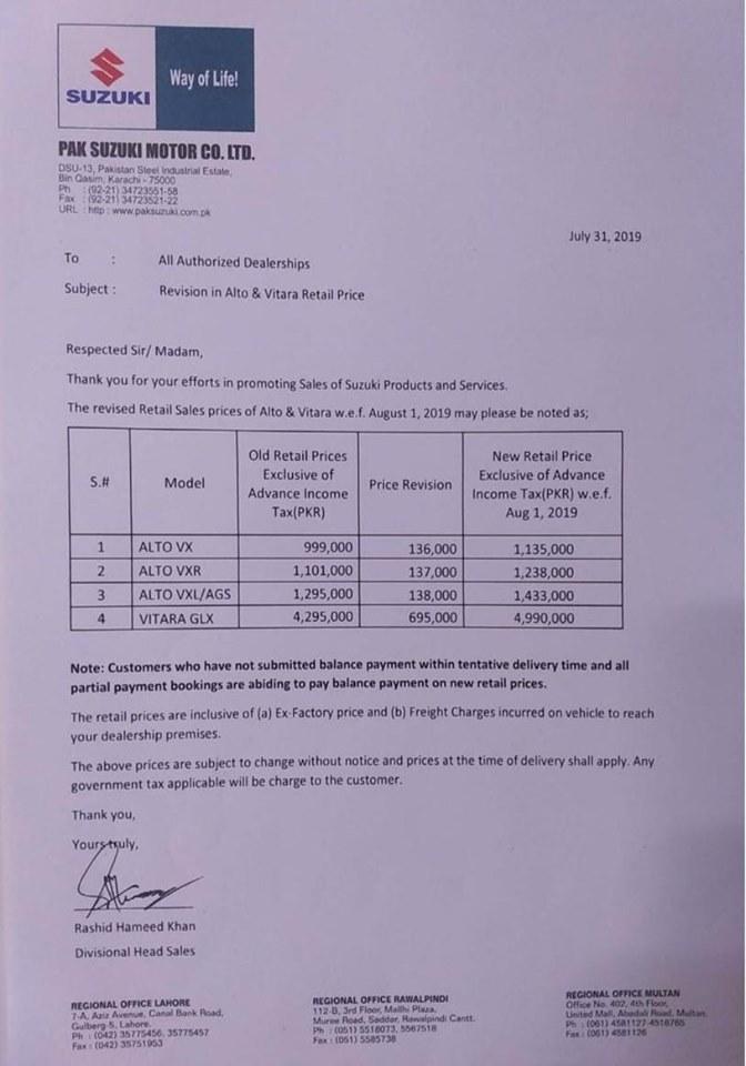 Pak Suzuki Increases Vitara and Alto 660cc Price 1
