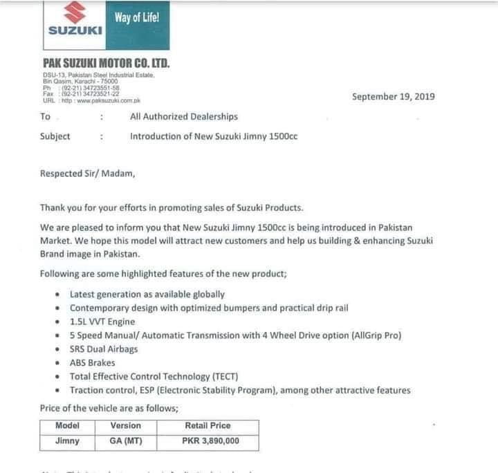 Pak Suzuki to Launch Jimny at PKR 38.9 Lac 2