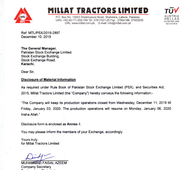 Millat Tractors to Halt Production 1
