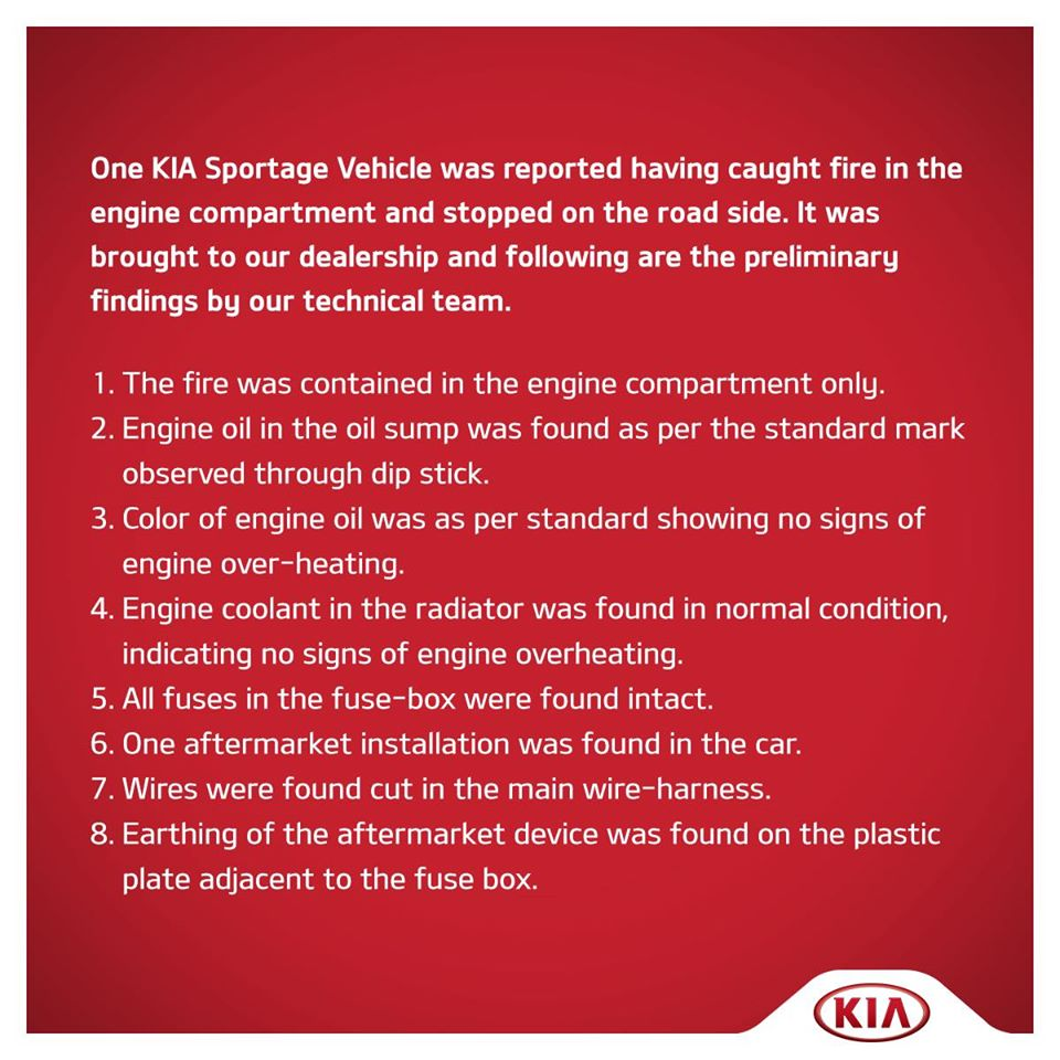 Kia Issues Official Statement on the Sportage Fire Incident 2