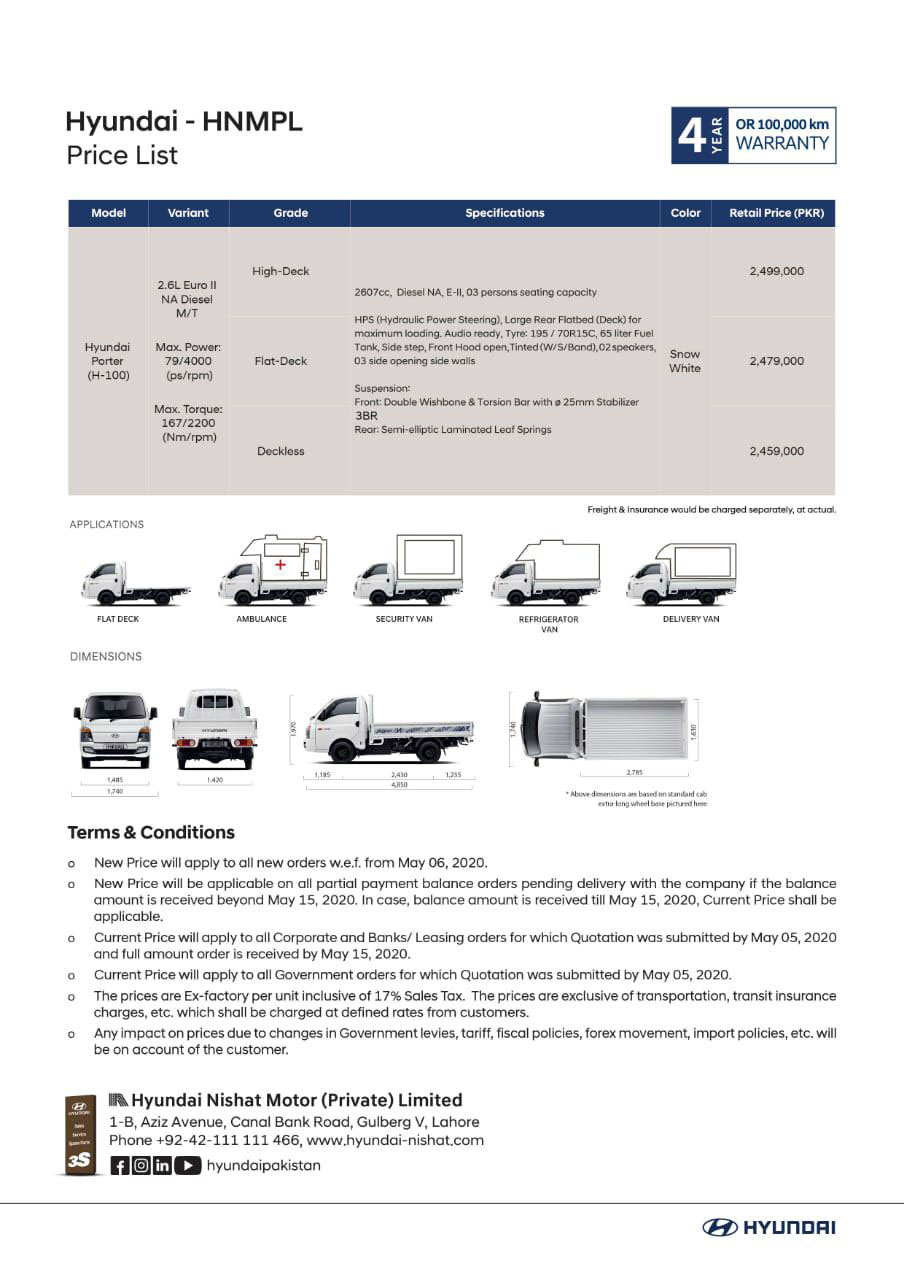 Hyundai-Nishat Increases Porter H-100 Prices 2