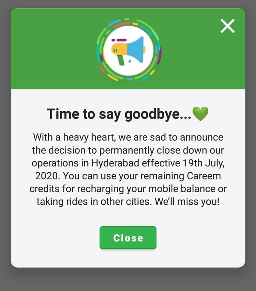 Careem Shutdown Operations in Hyderabad 1