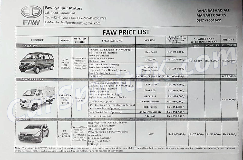 FAW Car Prices Increased 1
