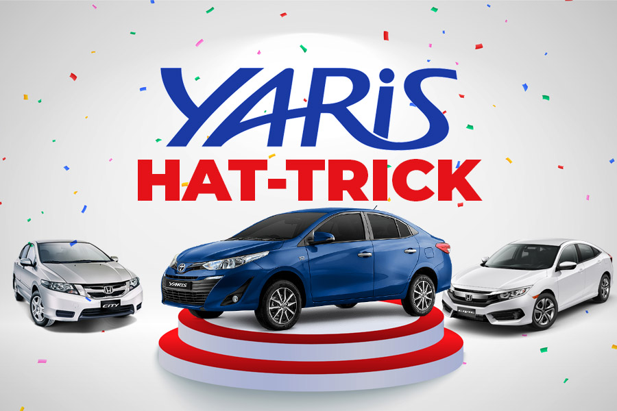 Hat-Trick for Toyota Yaris in Beating Honda Civic & City Combined 2